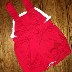 Red pinafore romper